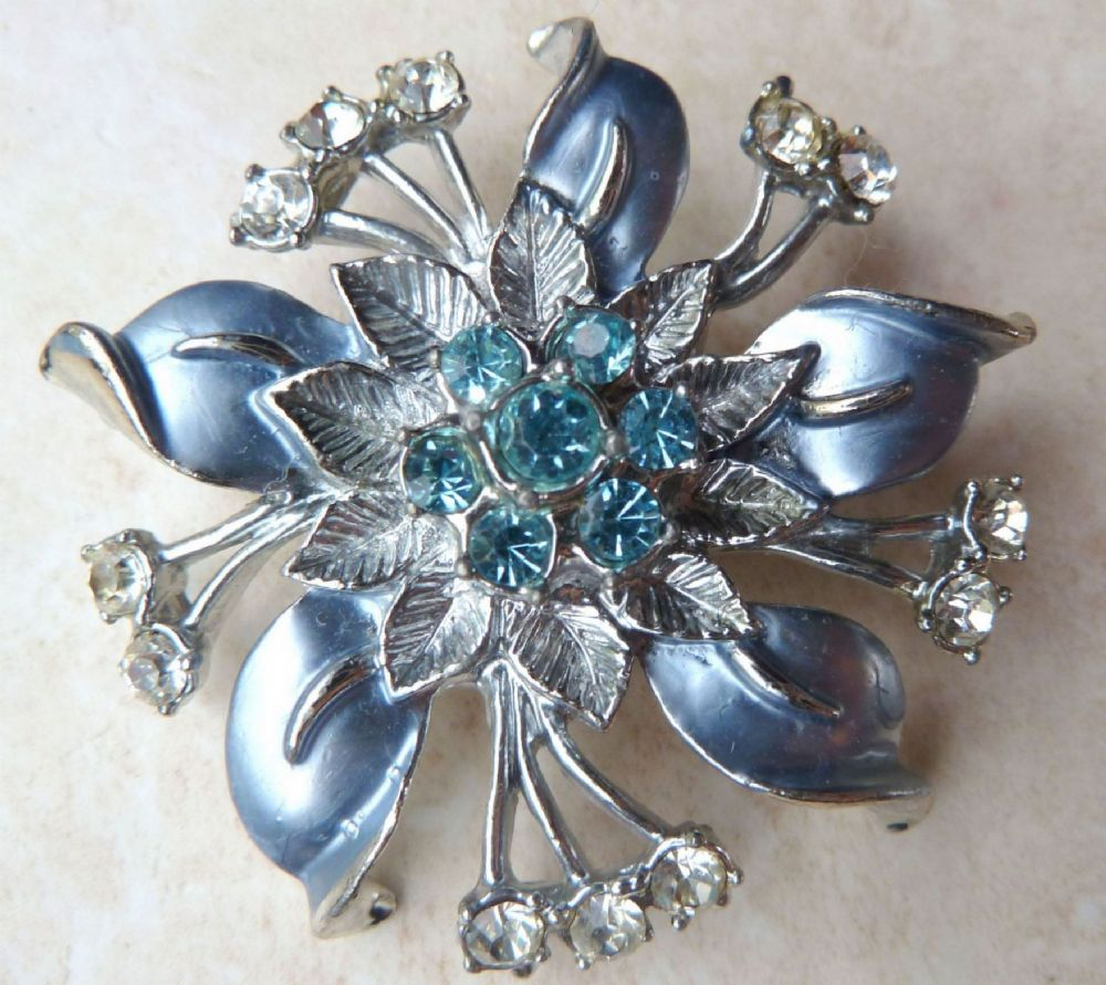 Vintage Blue Enamel Flower Brooch With Rhinestones